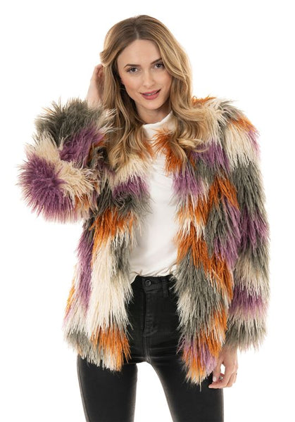 MULTI-COLOR ALPACA FAUX FUR TRENDSETTER JACKET
