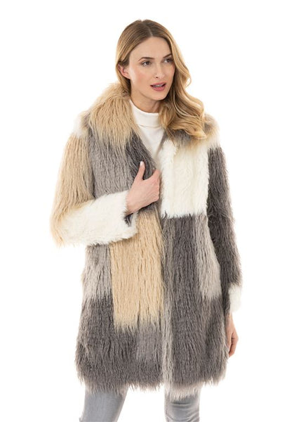 PATCHWORK STELLA KNEE-LENGTH FAUX FUR COAT