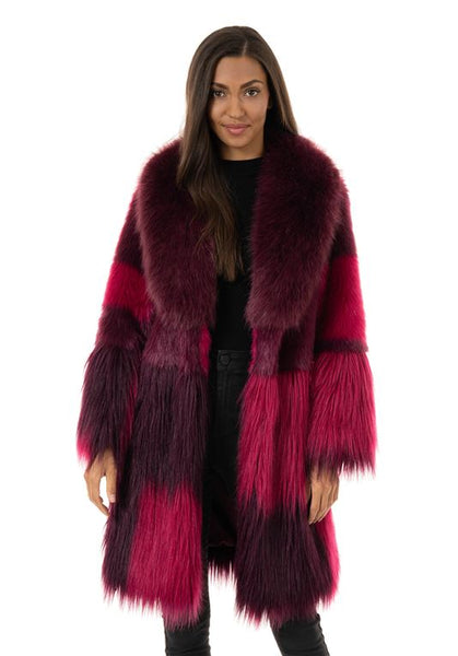 MULTI-COLOR STARLET KNEE-LENGTH FAUX FUR COAT