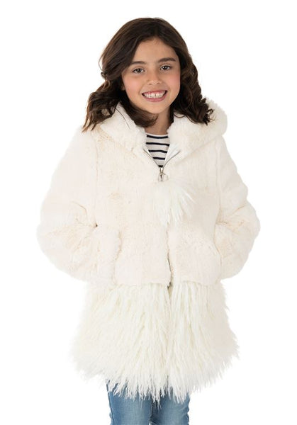 KID'S IVORY MINK HOODED FAUX FUR LUXE COAT