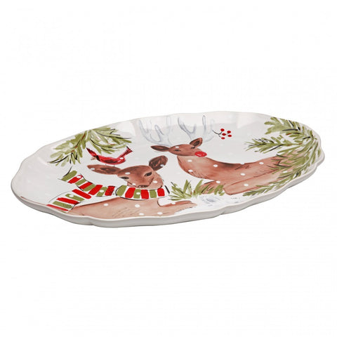 Casafina - Deer Friends - Large White Oval Platter