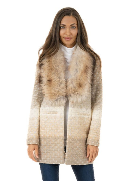 IVORY MARBLE-KNIT SWEATER WITH FAUX FUR COLLAR