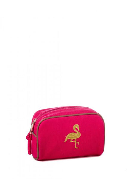 FLAMINGO EMBROIDERED TRAVEL POUCH - FINAL SALE