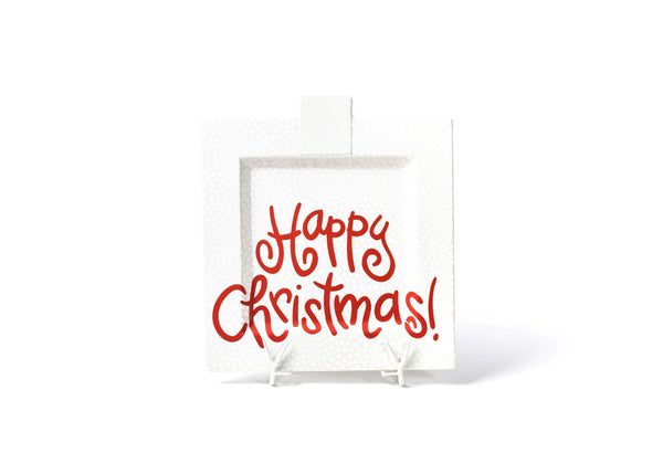 White Small Dot Happy Christmas Big Square Platter