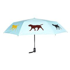 "Labrador Retriever 12"" Mini Foldable Auto Open/Close Premium Umbrella on Island Paradise Blue"