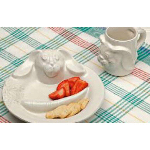 Infant Plate & Cup Set Bunny White