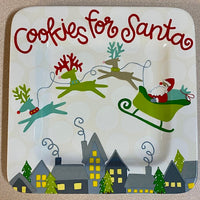 Coton Colors RETIRED Square Salad Plate ST NICK Cookies for Santa