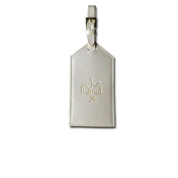 Metallic White Just Married Luggage Tag