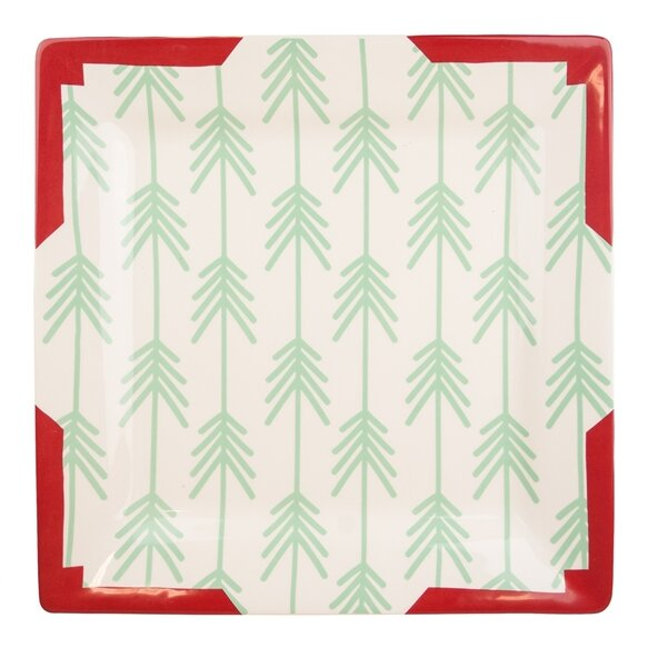 Coton Colors RETIRED Square Dinner Plate TIMBER TREES