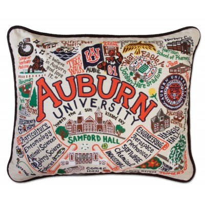 Cat Studio Embroidered Pillow - Auburn