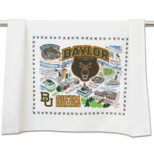 Cat Studio Embroidered Dish Towel - Baylor University