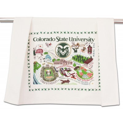 Cat Studio Embroidered Dish Towel - Colorado State University