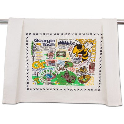 Cat Studio Embroidered Dish Towel - Georgia Tech