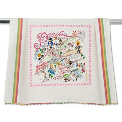 Cat Studio Embroidered Dish Towel - Paris