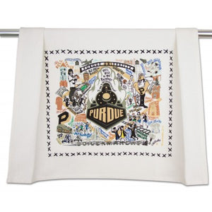 Cat Studio Embroidered Dish Towel - Purdue University