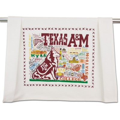 Cat Studio Embroidered Dish Towel - Texas A&M