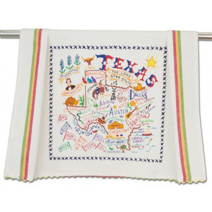 Cat Studio Embroidered Dish Towel - Texas
