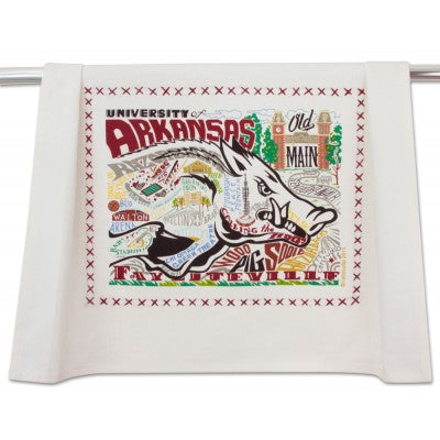 Cat Studio Embroidered Dish Towel - University of Arkansas