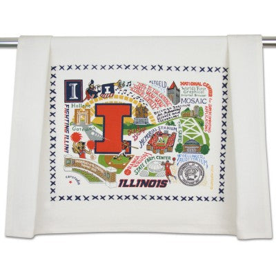 Cat Studio Embroidered Dish Towel - University of Illinois