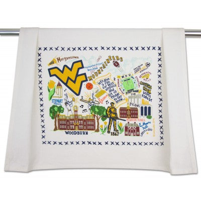Cat Studio Embroidered Dish Towel - West Virginia University