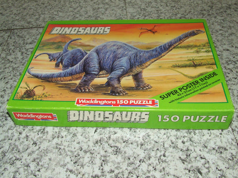 Waddingtons Dinosaurs 150 Pc Jigsaw Puzzle Complete With Poster ~ Lost Valley Artwork - Vintage Retro And Vinyl - 1