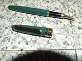 Laura Ashley Green & Gold Fountain Pen & Hard Case - Vintage Retro And Vinyl - 2