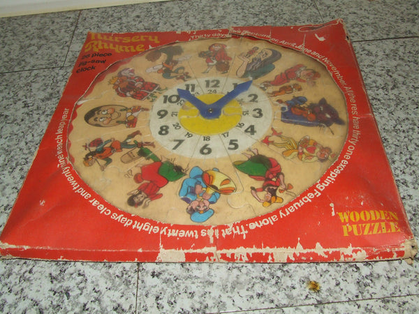 Nursery Rhyme Wooden Clock ~ JigSaw ~ Condor - Vintage Retro And Vinyl - 1