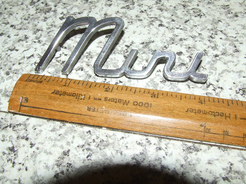 MINI - Metal Chrome Name Badge Nice Condition - Vintage Retro And Vinyl - 1