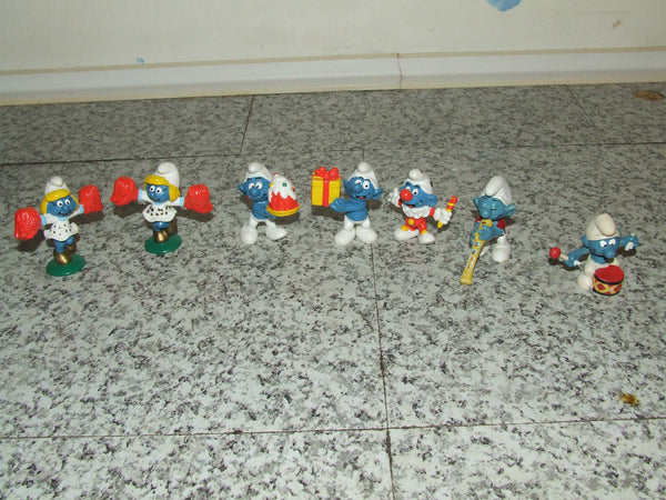 7 x Smurf Figures ~ Peyo, Schliech, McDonalds - Vintage Retro And Vinyl - 1