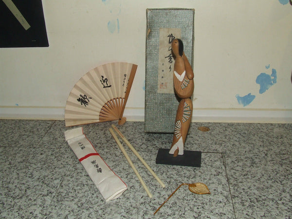 Vintage Chinese Wooden Figure, Boxed with Fan in Paper Wrap & Chopsticks - Vintage Retro And Vinyl - 1