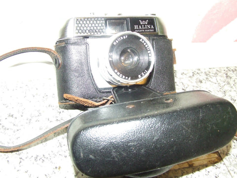 Halina Paulette Electric Vintage 35mm Camera With Black Leather Case - Vintage Retro And Vinyl - 1