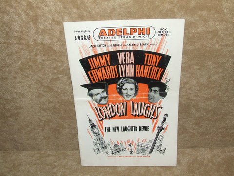 "Adelphi Theatre ""London Laughs""Program- Jimmy Edwards,Vera Lynn,Tony Hancock 1951 - Vintage Retro And Vinyl - 1"