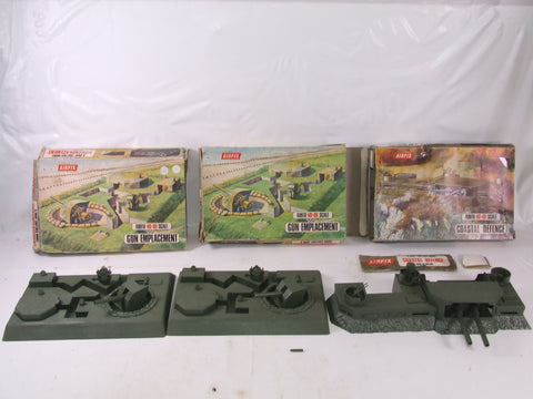 Airfix HO-OO Scale Snap Together Bundle Gun Emplacement x 2 & Coastal Defence Boxed 1960s
