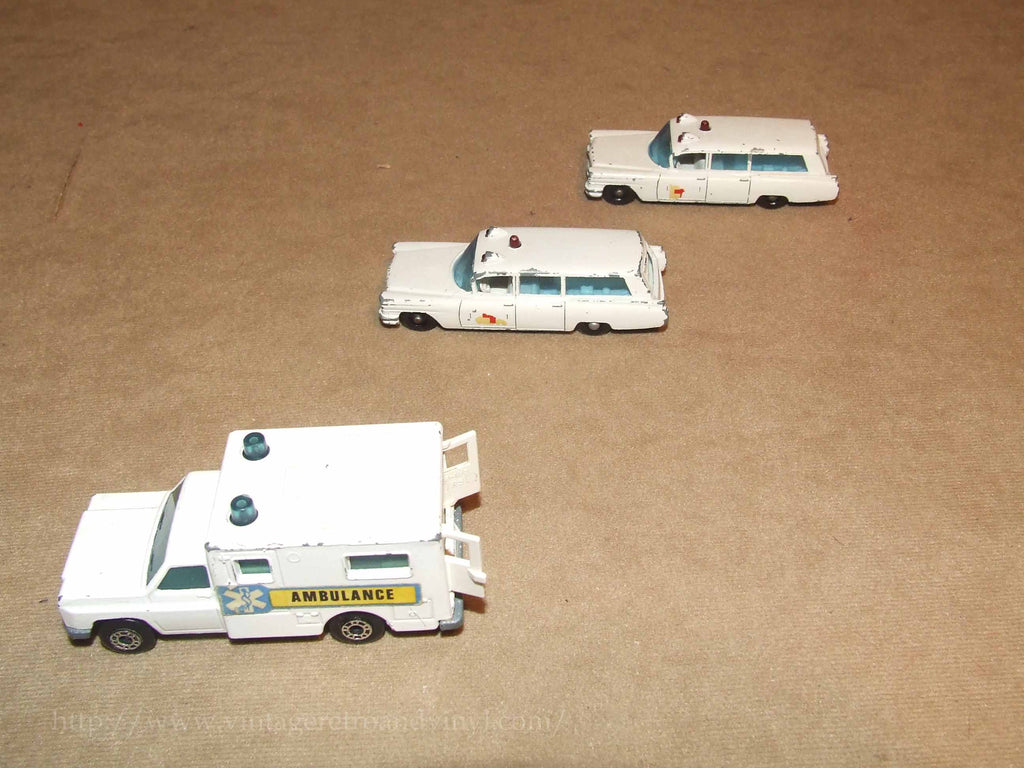 Lesney Matchbox Moko Superfast Ambulances 2 x 54, 1 x 41 Unboxed Playworn - Vintage Retro And Vinyl - 1