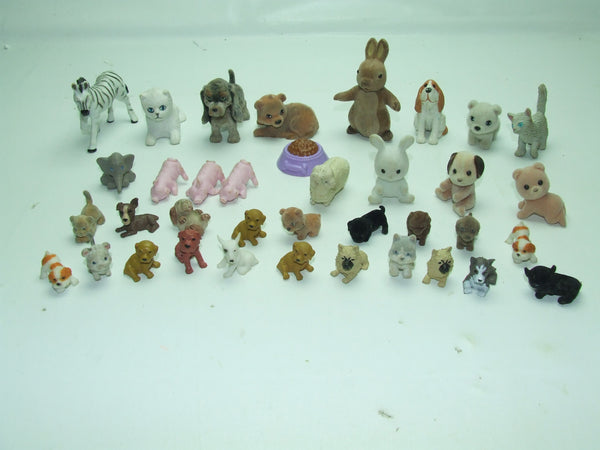 Small Toy Animals Bundle Of Dogs Cats Rabbits & More Puppy Kitty In My Pocket