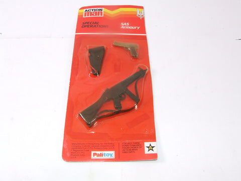 Vintage Action Man SAS Armoury Carded Accessories Rifle Pistol & Holster