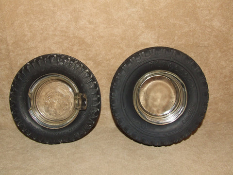 2 x Tyre Ashtrays With Glass Inserts Firestone Gum Dipped & Davies Spartan Cord - Vintage Retro And Vinyl - 1