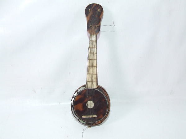 Antique Victorian Era Faux Tortoiseshell Mini Banjo Model Mother of Pearl Restoration