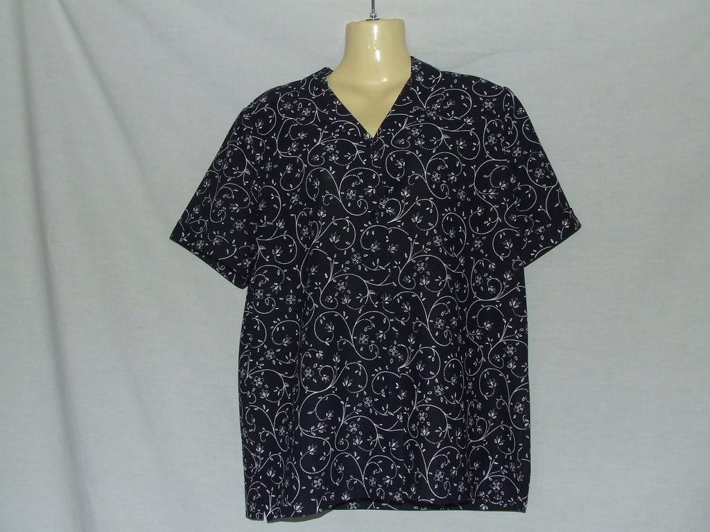 Ladies Blouse Navy With Floral Print Size 16 Made In UK Vintage Circa 1980's - Vintage Retro And Vinyl - 1