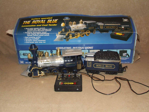 The Royal Blue Locomotive & Coal Tender # 2170 - RC Lights/Sound - Vintage 1985 - Vintage Retro And Vinyl - 1