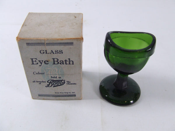 Vintage Boots Glass Eye Bath In Green Boxed