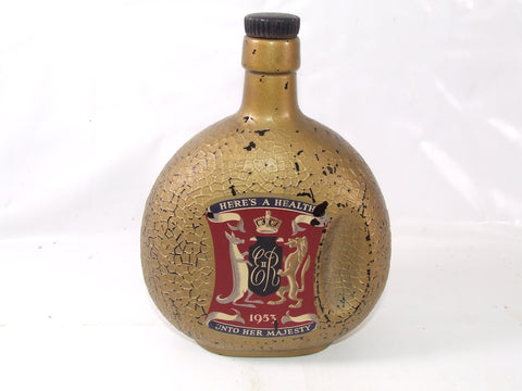 1953 Queen Elizabeth II Coronation Glass Flagon Empty Bottle Emu Vinyard