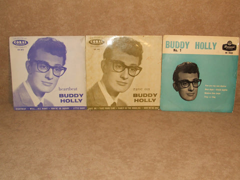 Buddy Holly Tri Centre EP 3 x Vinyl Records Coral Brunswick