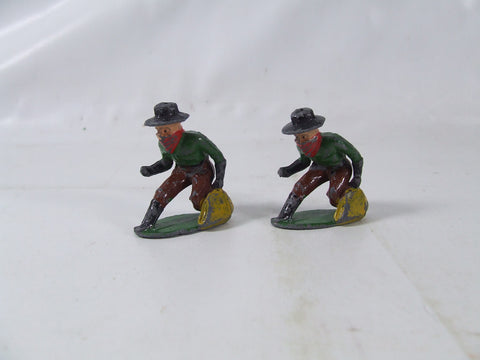 2 Vintage Metal Painted Cowboy Robber Toy Soldiers With Bag