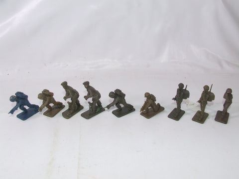 Vintage Crescent WWII Toy Soldiers x 9