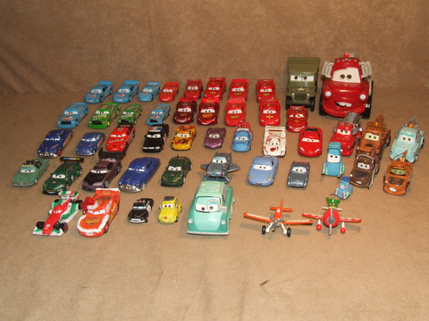 Disney Pixar Cars Mostly Diecast Bundle Of 50 Vehicles - Vintage Retro And Vinyl - 1