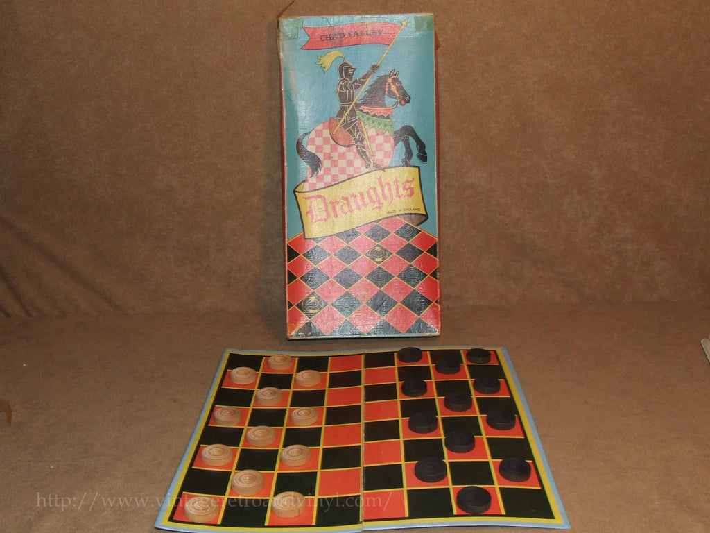 Wooden Draughts Set By Chad Valley - Boxed & Complete - Vintage Circa 1950's - Vintage Retro And Vinyl - 1