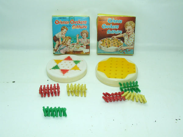 Vintage Pocket Chinese Checkers With Solitaire x 2 New Old Shop Stock Hong Kong