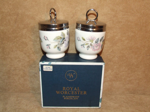 Royal Worcester Standard Sized 2 x Porcelain Egg Coddlers June Garland Boxed