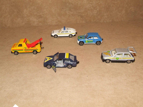 Corgi Juniors Diecast Cars x 5 Unboxed Renault 5 Vauxhall Nova Ford Escort Rover - Vintage Retro And Vinyl - 1